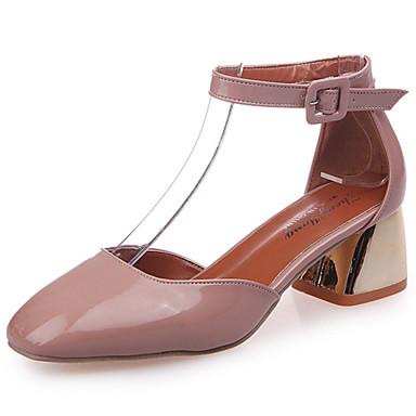 Naiset Sandaalit Comfort Kumi Kesä Kävely Comfort Soljilla Matala korko Musta Beesi Pinkki Kameli Alle 1in