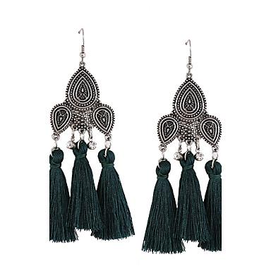 Women's Tassel Bohemian Drop Earrings - Personalized Tassel Bohemian Euramerican Fashion Black Red Green Irregular Earrings For Wedding