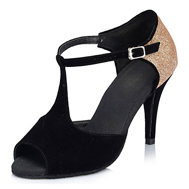 Women's Latin Shoes Silk / Leatherette Sandal / Sneaker Buckle Stiletto Heel Customizable Dance Shoes Gold / Black / Professional