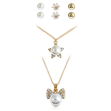 Women's Pearl Jewelry Set - Personalized, Dangling Style, Fashion Include Stud Earrings / Pendant Necklace / Necklace / Earrings Gold For Christmas / Congratulations / Office / Career