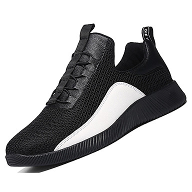 Homens sapatos Couro Ecológico Primavera Outono Solados com Luzes Conforto Tênis Cadarço para Atlético Preto Branco/Preto