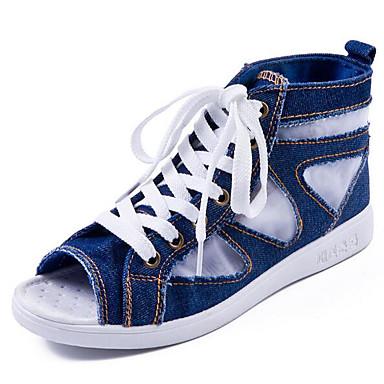 Naiset Kengät Canvas Denim Kevät Comfort Sandaalit Käyttötarkoitus Kausaliteetti Vaalean sininen
