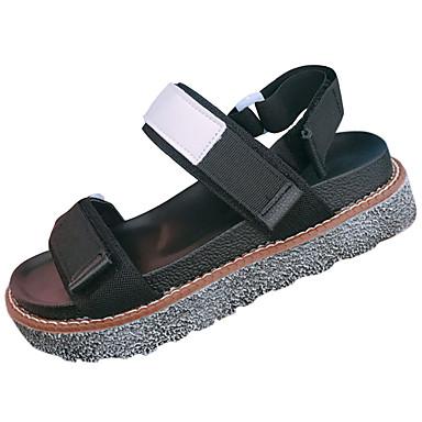 Mulheres Sapatos Couro Ecológico Verão Solados com Luzes Conforto Sandálias Sem Salto Dedo Aberto Colchete para Social Preto