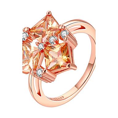 Women's Ring Jewelry Rose Gold Zircon Copper Rose Gold Plated Geometric Irregular Personalized Luxury Geometric Unique Design Classic