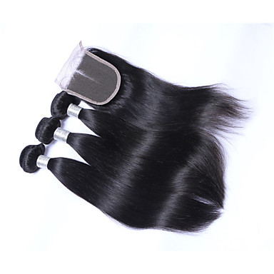 Brazil haj Egyenes Emberi haj sző 4 darab Az emberi haj sző