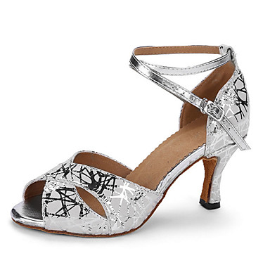 Women's Latin Leather Heel Professional Pattern / Print Cuban Heel Silver 2