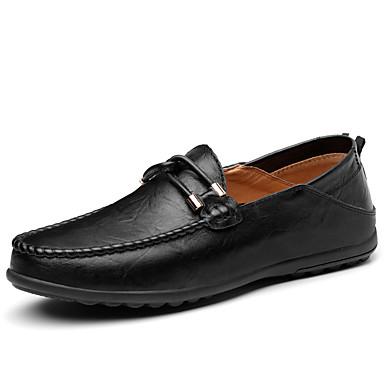 Herre sko PU Oxford Lær Vår Høst Dykkesko Komfort Mokkasin Oxfords til Avslappet Kontor og karriere Svart Brun Mørkebrun