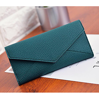 Women's Bags PU Checkbook Wallet for Casual All Seasons Gray Green Pink