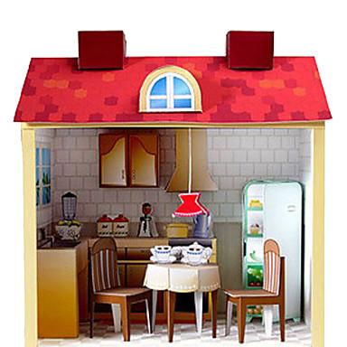 Quebra-Cabeças 3D Conjuntos Toy Cozinha Artesanato de Papel Construções Famosas Casa Arquitetura Faça Você Mesmo Cartão de Papel Duro