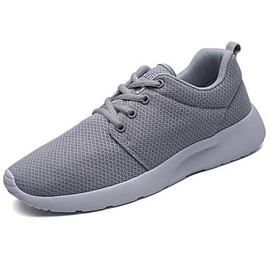 Homens sapatos Tule Primavera Outono Conforto Tênis Caminhada Cadarço para Casual Branco Preto Cinzento Verde