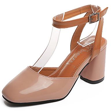 Mulheres Sapatos Couro Envernizado Verão Conforto Sandálias Caminhada Salto Robusto Ponta quadrada Presilha Bege / Amarelo / Rosa claro