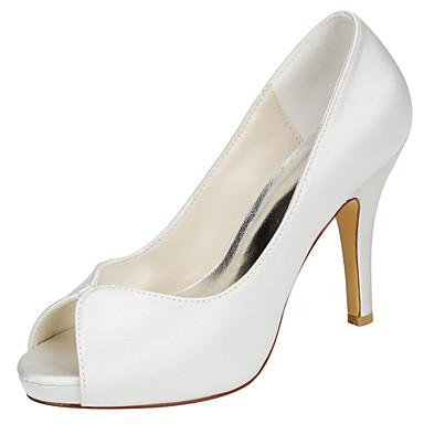 Mulheres Sapatos Cetim com Stretch Verão Plataforma Básica Saltos Salto Agulha Peep Toe para Social Festas & Noite Ivory