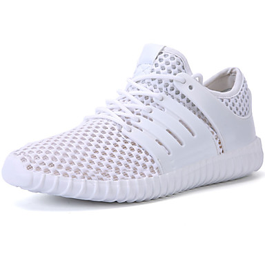 Men's Athletic Shoes Comfort Spring Fall PU Outdoor White Black Gray Flat
