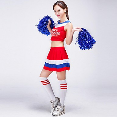 Cheerleader Costumes Outfits Women's Performance Milk Fiber Pleated Pattern/Print 2 Pieces Sleeveless High Skirts Tops