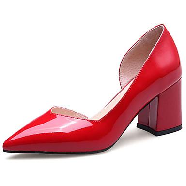 Mujer Zapatos Cuero Verano Confort Tacones Tacón Cuadrado Dedo Puntiagudo Blanco / Negro / Rojo pUTBj