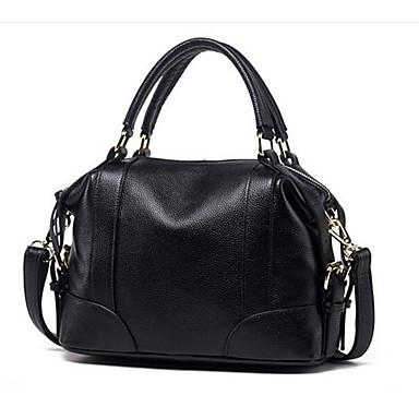 Women Shoulder Bag Cowhide All Seasons Casual Outdoor Round Zipper Black Brown