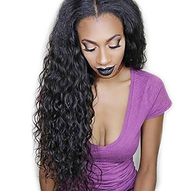 130% Density Deep Wave Wig Natural Color Lace Front Wig Human Virgin Hair  Wig for Black Women