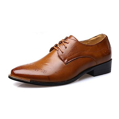 Men's Shoes Leather Spring Summer Fall Winter Comfort Oxfords Walking Shoes Lace-up For Wedding Casual Party & Evening Office & Career