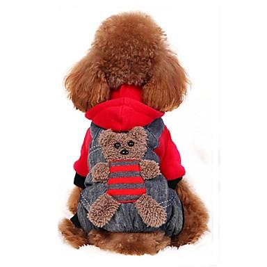 Cachorro Fantasias Casacos Camisola com Capuz Calças Roupas para Cães Urso Amarelo Vermelho Flanela Algodão Ocasiões Especiais Para