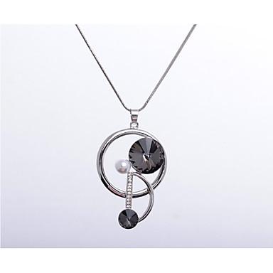 Dame Rhinstein Imitert Perle Anheng Halskjede - Unikt design Geometrisk Form Sølv Sølv / Svart Halskjeder Til Bryllup Fest Spesiell