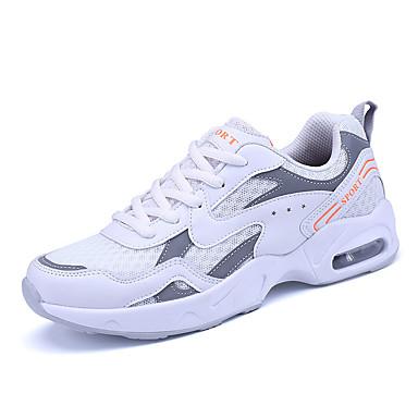 Homens sapatos Borracha Primavera Outono Conforto Tênis Corrida Cadarço para Ao ar livre Azul Escuro Cinzento Branco/Preto