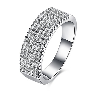 Women's Ring AAA Cubic Zirconia Silver Zircon Copper Silver Plated Round Personalized Luxury Geometric Unique Design Classic Vintage