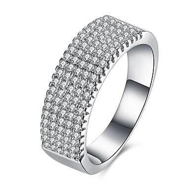 Dame Ring Kubisk Zirkonium Sølv Zirkonium Kobber Sølvplett Rund Personalisert Luksus Geometrisk Unikt design Klassisk Vintage Rhinestone