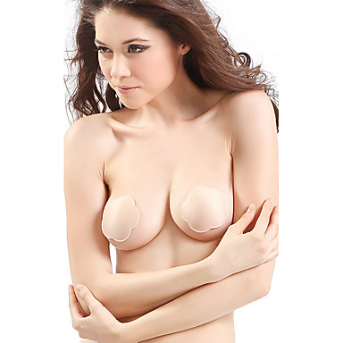 Women's Solid Balcony Accessories Padless Bra Water Bras & Gel Bras Strapless & Multi-Way Wireless Push-up Black Beige