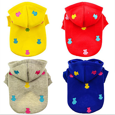 Dog Hoodie Dog Clothes Bear Gray Yellow Red Blue Cotton Down Costume For Pets Men's Women's Casual / Daily