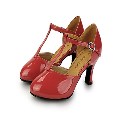 Women's Modern Shoes Patent Leather Heel / Sneaker Buckle Stiletto Heel Dance Shoes Light Red / Pink / Khaki / Practice
