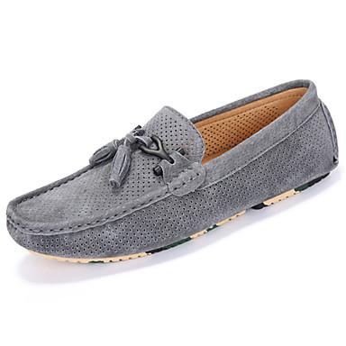 Miesten kengät Siannahka Kevät Syksy Valopohjat Mokkasiinit Comfort Mokkasiinit Tupsuilla varten Kausaliteetti ulko- Musta Harmaa Sininen