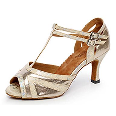 Women's Latin Shoes Synthetic Microfiber PU Heel Indoor Buckle Gold Black Silver 2 - 2 3/4inch Customizable