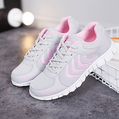 Women's Shoes Net Summer / Fall Light Soles Athletic Shoes Running Shoes Low Heel Round Toe White / Light Grey / Blue