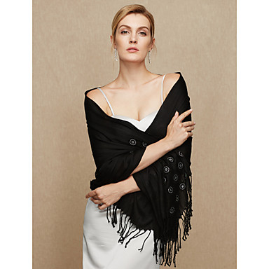 Cotton Wedding / Party / Evening Women's Wrap With Floral / Tassel Shawls