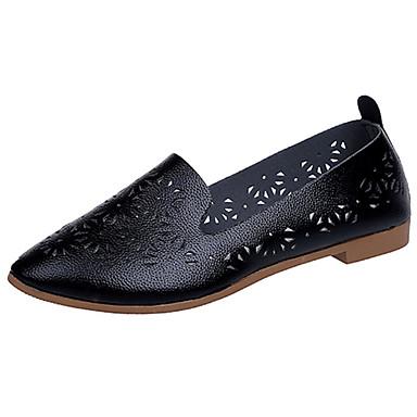Mulheres Sapatos Borracha Verão Conforto Sandálias Caminhada Salto Baixo Ponta Redonda para Ao ar livre Branco Preto Bege