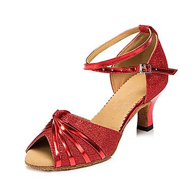 Mulheres Sapatos de Dança Latina Courino Sandália / Têni Presilha Salto Robusto Personalizável Sapatos de Dança Prata / Vermelho / Bronze