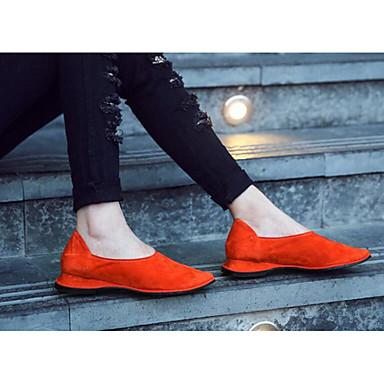 Dame Sko Egte Lær Vår Komfort Flate sko til Avslappet Svart Rød Mandel