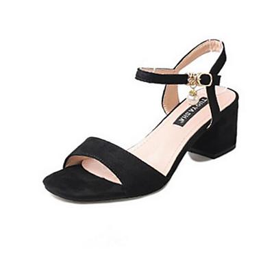Women's Sandals Comfort Summer Flocking Casual Black Almond 3in-3 3/4in
