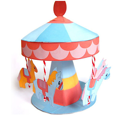 3D Puzzles Paper Model Model Building Kits Toys Horse Carousel 3D DIY Not Specified Pieces