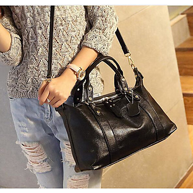 Women Bags All Seasons Cowhide Shoulder Bag with for Casual Outdoor Black Blushing Pink