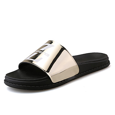 Men's Shoes PU Summer Comfort Slippers & Flip-Flops for Casual Gold Black Red