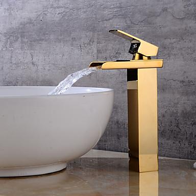 Conjunto Central Cascata Uma Abertura Dourado, Torneira pia do banheiro