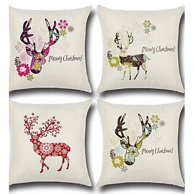 4 pcs Cotton/Linen Pillow Case Pillow Cover, Classic Animal Novelty Simple Classic Style Classical High Quality Neoclassical