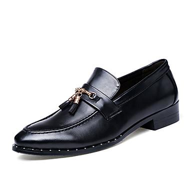 Homens sapatos Couro Ecológico Primavera Outono Solados com Luzes Conforto Oxfords Mocassim para Atlético Preto Marron