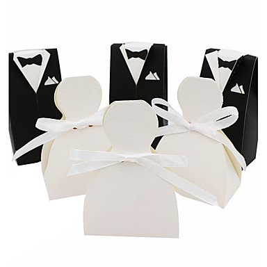 Others Card Paper Favor Holder with Ribbons Gift Boxes - 50
