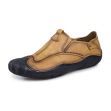 Men's Loafers & Slip-Ons Comfort Driving Shoes Summer Fall Leather Walking Shoes Casual Outdoor Flat Heel Light Brown Khaki Flat