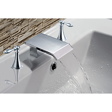 Bathroom Sink Faucet - Beach Style / Mediterranean Chrome Widespread