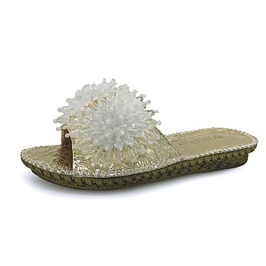 Mulheres Sapatos Couro Ecológico Primavera Verão Fashion Conforto Sandálias Sem Salto Dedo Aberto para Diário Para Noite Dourado Prata