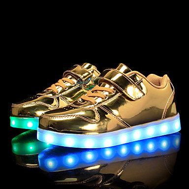 Para Meninas sapatos Couro Ecológico Primavera Outono Tênis com LED Conforto Tênis Caminhada LED Velcro para Casual Ao ar livre Dourado