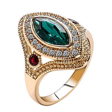 cheap Rings-Women's Statement Ring / Ring / thumb ring Crystal Red / Green Resin / Rhinestone / Chrome Statement / Ladies / Personalized Christmas / Christmas Gifts / Wedding Costume Jewelry / Solitaire